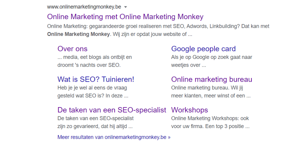 Google sitelinks OMM